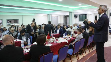 The Mayor of London attends the community Iftar at the Aziziye Mosque in Stoke Newington. Picture: J
