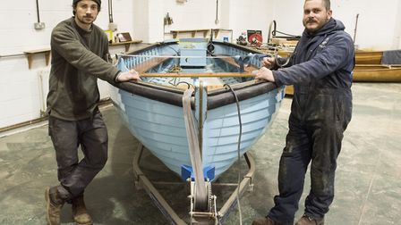 Seb Scarr and Lewis Phillips, from the International Boatbuilding Training College in Lowestoft, wit