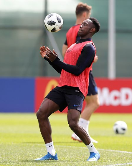 England's Danny Welbeck during a training session at the Spartak Zelenogorsk Stadium, Repino (pic Ow