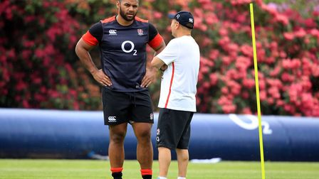 England's Billy Vunipola chats with coach Eddie Jones (pic Adam Davy/PA)
