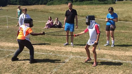 Children take part in fencing at the Give It A Go festival. Picture: City of London Corporation
