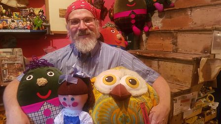 David Ward, a volunteer at the toy shop with Humpty, Jemima and an owl