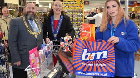 Peter and Marina Knight are the first customers at the new B&M store in Lowestoft.