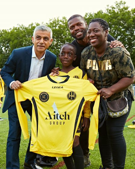 He was even presented with his own Hackney Wick FC shirt. Picture: Gary Morrisroe