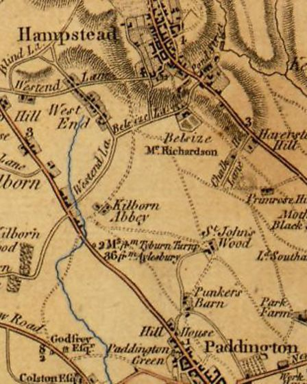 A map from 1790 showing the Westbourne river running through Hampstead and Kilburn