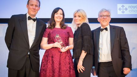 Cardiology matron Clare Carter-Jones receives her award from Michelle Colliins. Picture: Royal Free