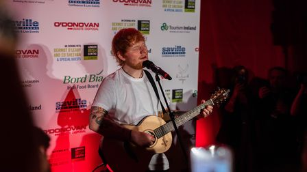 Ed Sheeran plays an acoustic set at the London Irish Centre as they raise �250,000. Picture: Bord Bi