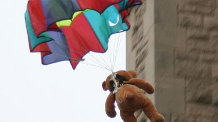 Teddies falling from St James' Church in Muswell Hill as part of Midsummer Muswell last year