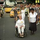 Pamela Moffatt as Olympic torch bearer in 2012, going through the streets of Hornsey. Picture: Henry