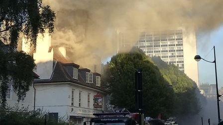 Ten fire engines and 72 firefighters tackled the fire. Picture: @_fastamersham