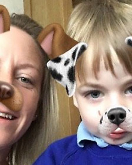 Vickie Coaklet with her son Sonnie, five, who attends the Warren School in Lowestoft. Picture: Vicki