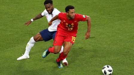 England's Danny Rose (left) and Belgium's Mousa Dembele battle for the ball during the FIFA World Cu