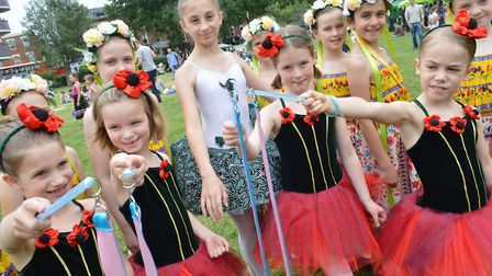 Jester Festival on Fortune Green Saturday 1st July 2017. Dancers from the West Hampstead School of D