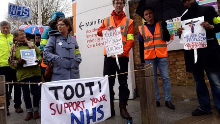 Homerton Hospital, pictured in 2016 during the junior doctors' strike. Health campaigners now fear a