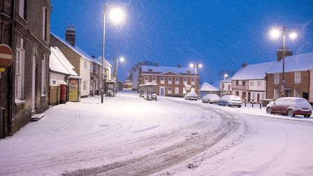 A snow scene at first light in Beccles.Picture: Nick Butcher