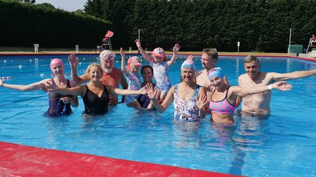 Hornsey and Wood Green MP Catherine West joins the Park Road Lido Users Group in the pool during a v
