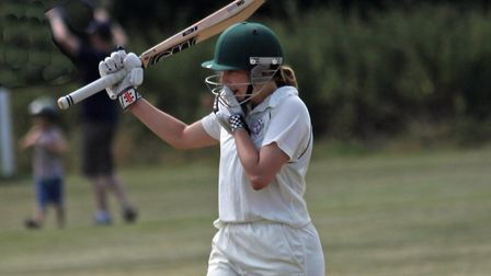Eloise Porter celebrates after scoring a hundred for Hampstead women's first-team at Hutton (pic: Ji