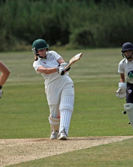 Eloise Porter in action for Hampstead women's first-team at Hutton on her way to a hundred (pic: Jim