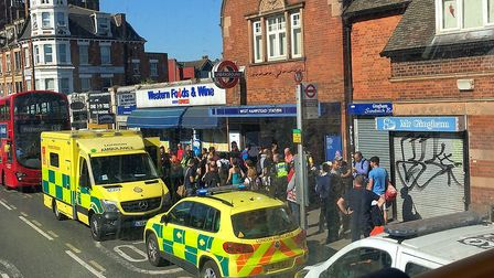 Emergency services at West Hampstead tube station after the attack. Picture: @jgwhamp