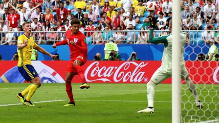 England's Dele Alli scores his side's second goal against Sweden (pic Tim Goode/PA)