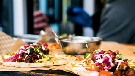 Tofish tacos and jackfruit burritos are on offer from the Club Mexicana stall