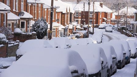 Grove Road, Beccles covered in snow.Picture: Nick Butcher