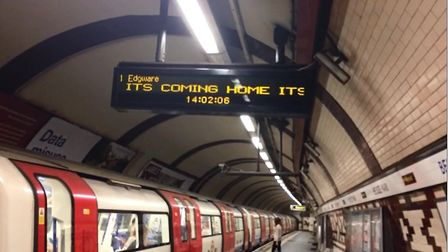 The words to the 1996 hit football anthem are being played on the announcement boards at Belsize Par