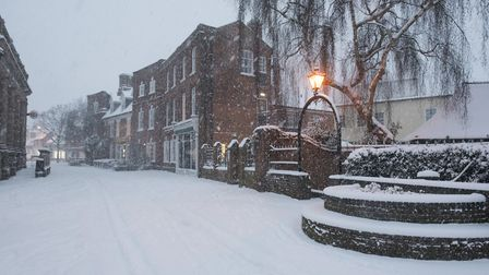 Snow in Beccles Town centre at first light.Picture: Nick Butcher