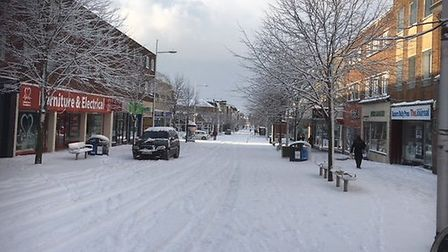 Lowestoft town centre after snowfall on February 28, 2018. Picture: Mark Boggis