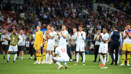 England players applaud the fans after the World Cup semi-final match against Croatia at the Luzhnik