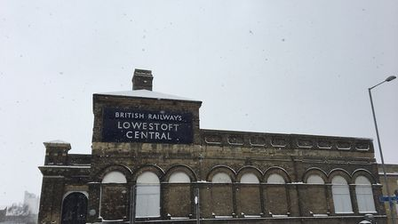 Snow falling at Lowestoft station caused all trains to be cancelled. PICTURE: East Suffolk Lines Com