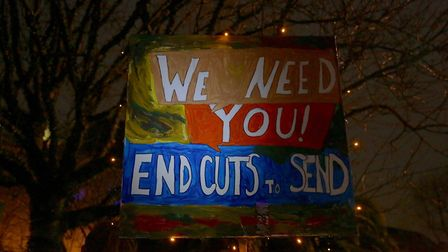 Campaigners made posters ahead of the meeting on Wednesday. Picture: Melissa Byers