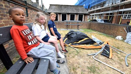 Children from O'Neill House on Cochrane St, St John's Wood with their trampoline that was dismantled