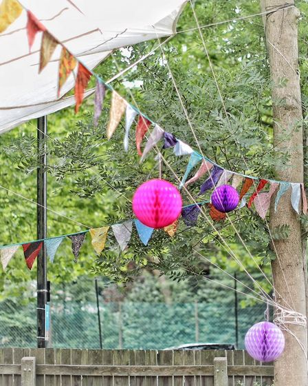 Bunting at Simmons House's 50th birthday party. Picture: Simon Lewis