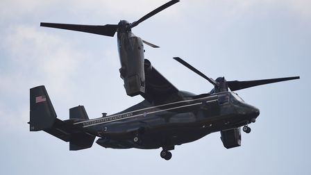 An Osprey helicopter of the US Marine Corps comes into land at the residence of the US Ambassador in