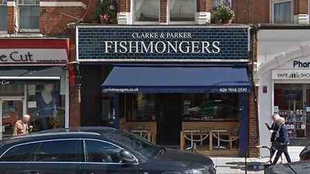 Muswell Hill fishmongers Clarke and Parker. Picture: Google