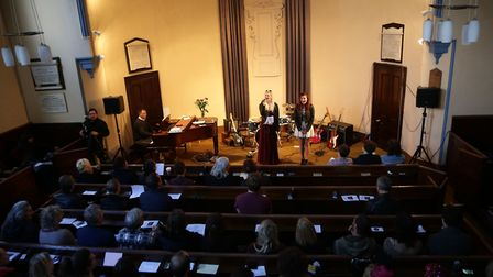 Musicians performing during a public memorial service for Lou Reed at Newington Green Unitarian Chur