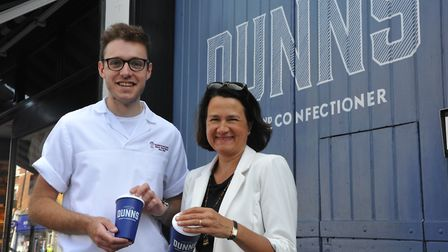 Lewis Freeman and Catherine West with the new reusable coffee cup. Picture: David Winskill