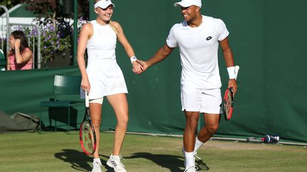 Harriet Dart and Jay Clarke during the mixed doubles on day eight of the Wimbledon Championships (pi