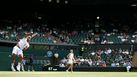 Harriet Dart and Jay Clarke during the mixed doubles on day ten of the Wimbledon Championships (pic