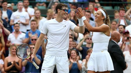 Jamie Murray and Victoria Azarenka celebrate their win on day ten of the Wimbledon Championships (pi