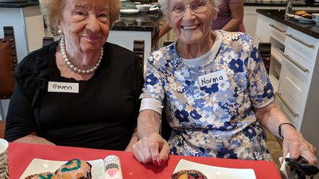 Gwen Rose and Norma Morgenstern are reunited after 50 years at the bake sale.Picture: Jewish Care