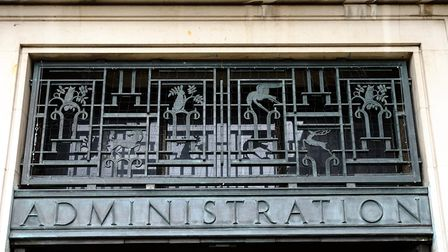 The ironworks above the main entrance at Hornsey Town Hall. Picture: David Winskill