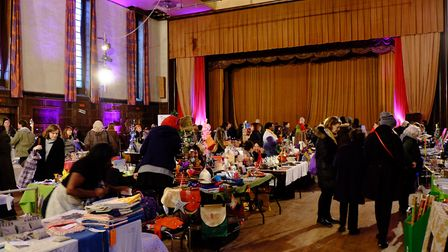 The hall bustling with people as a market takes place. Picture: David Winskill