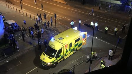 The ambulance in Seven Sisters Road at the junction with Portland Rise.