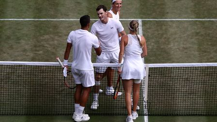 Jamie Murray and Victoria Azarenka (top) after their mixed doubles win against Jay Clarke and Harrie