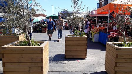 The anti-terror trees at the end of Ridley Road Market. Picture: Ramzy Alwakeel