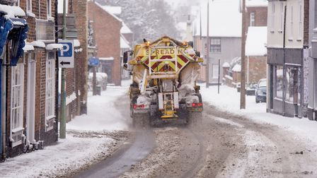 A grit spreader works to melt the snow and ice on Blyburgate, Beccles.Picture: Nick Butcher
