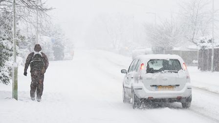 A snow covered Lowestoft Road in Worlingham. Picture: Nick Butcher