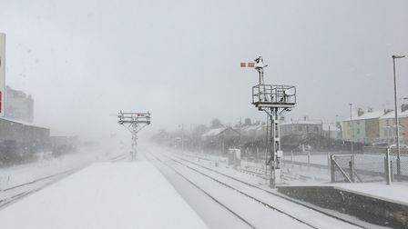 The signals at Lowestoft station were barely visible due to the snow. PICTURE: East Suffolk Lines Co